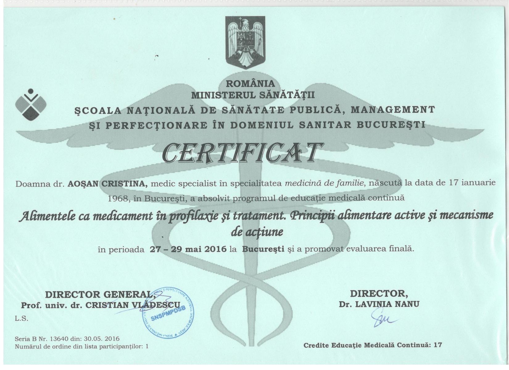 Certificat Scoala Nationala de Sanatate Publica, Ministerul Sanatatii