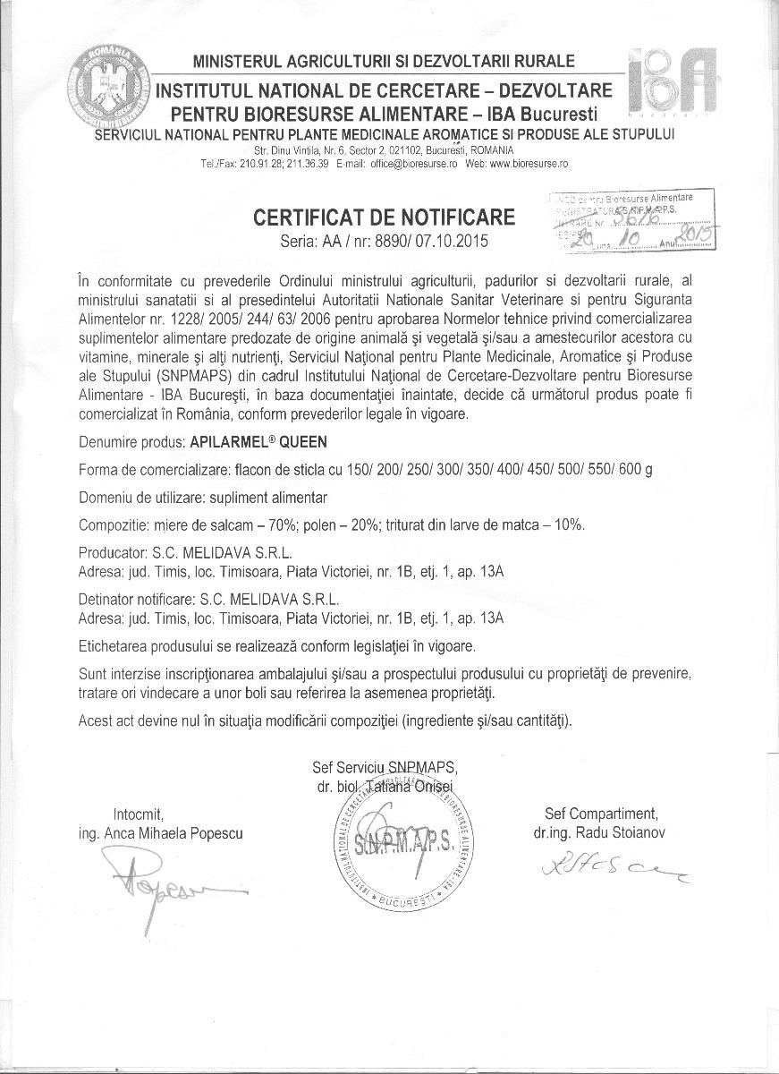 Certificat Apilarmel Queen
