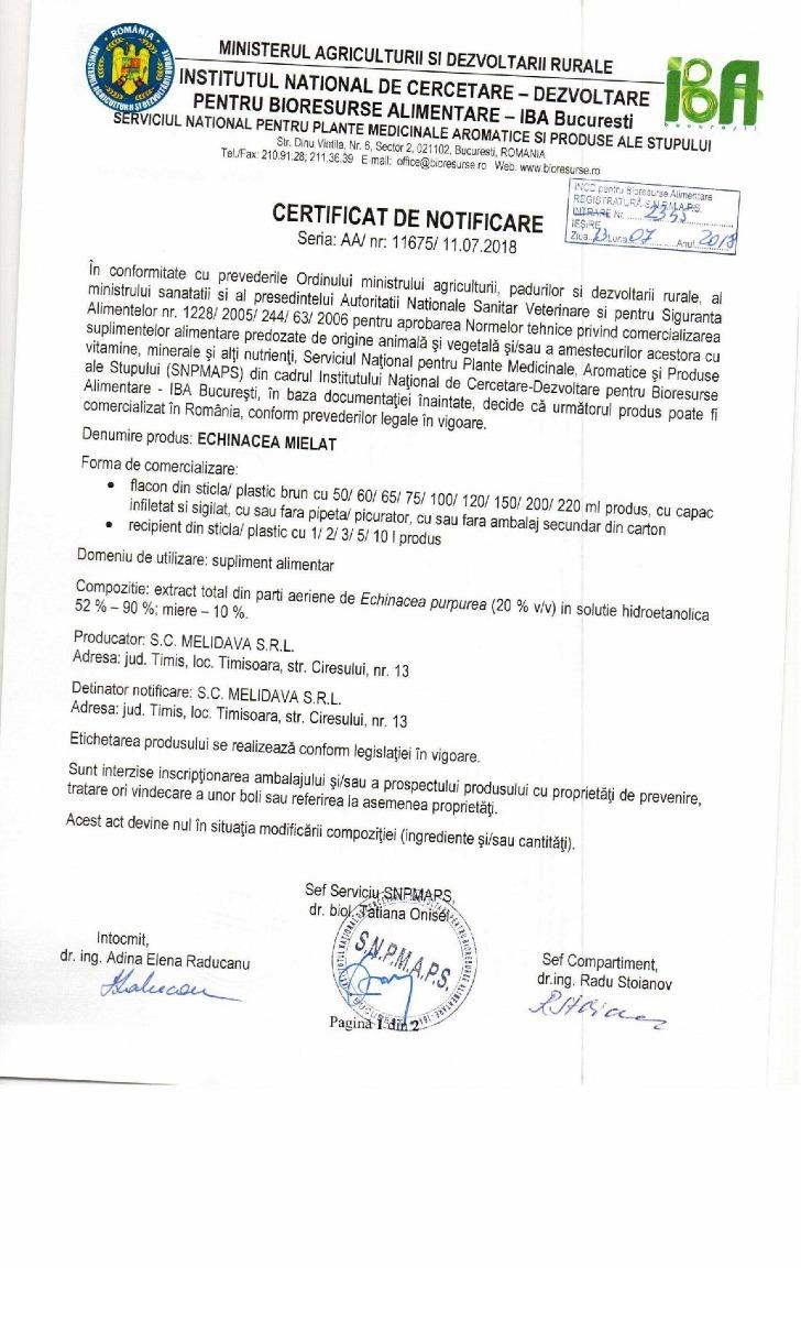 Certificat Echinacea Mielat (tinctura de echinacea cu miere)