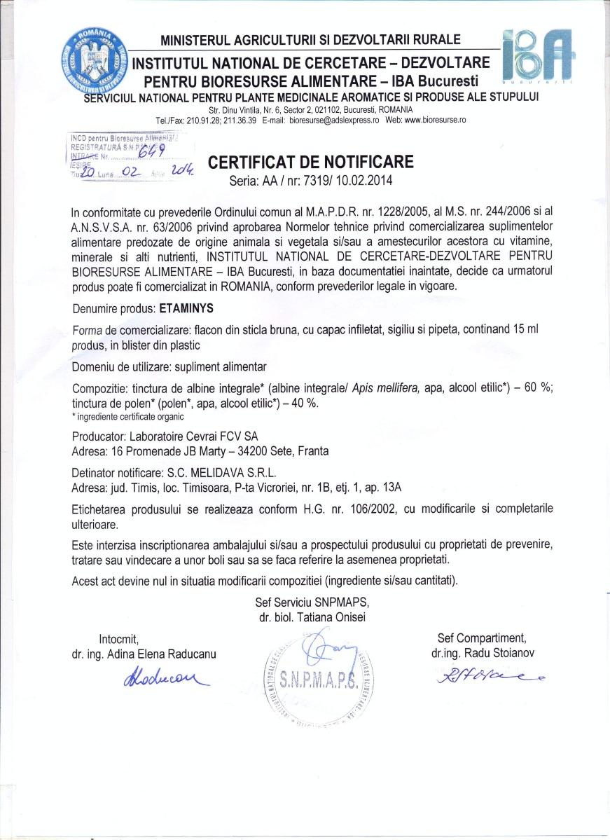 Certificat Etaminys