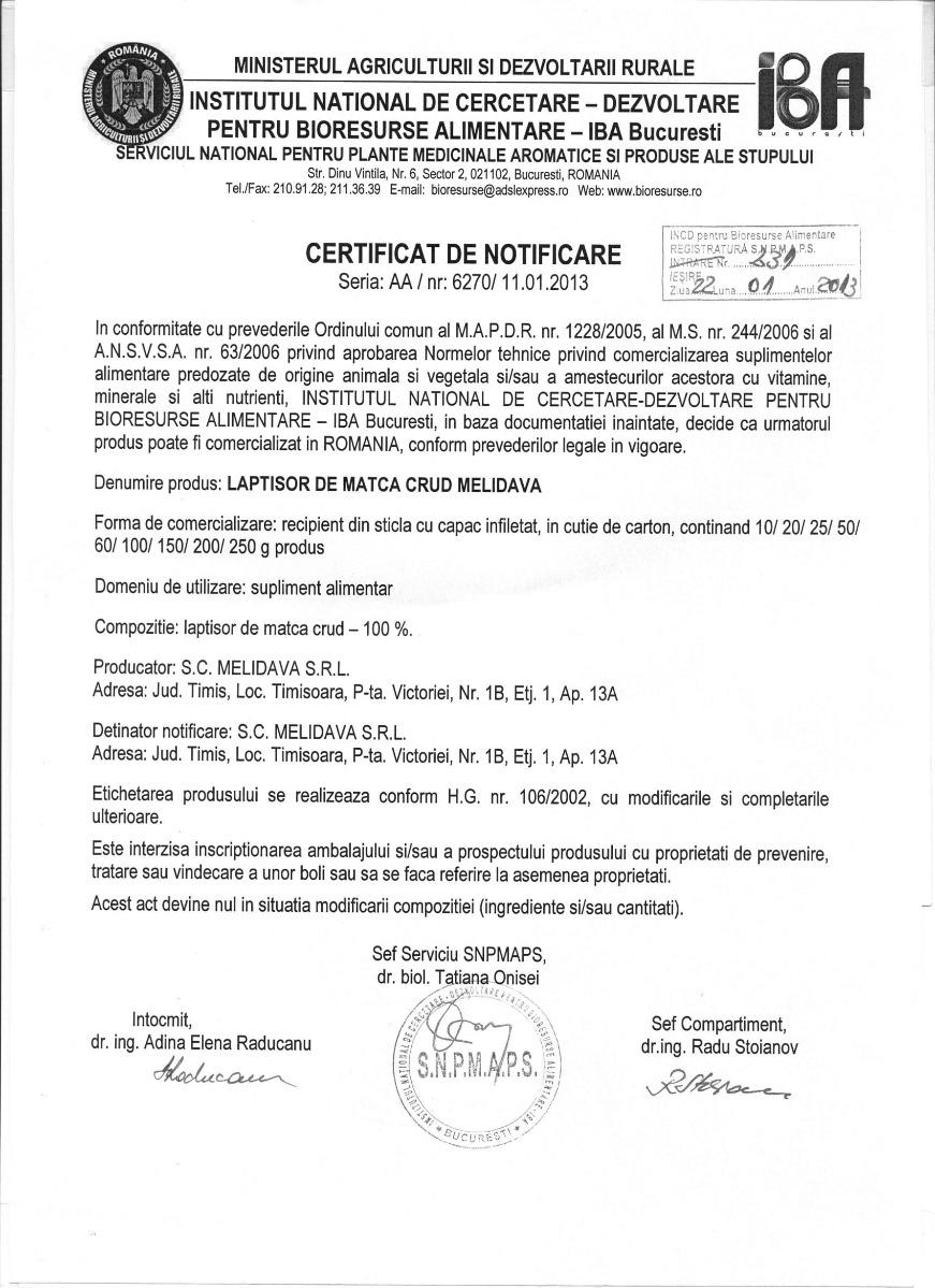 Certificat laptisor de matca crud Melidava