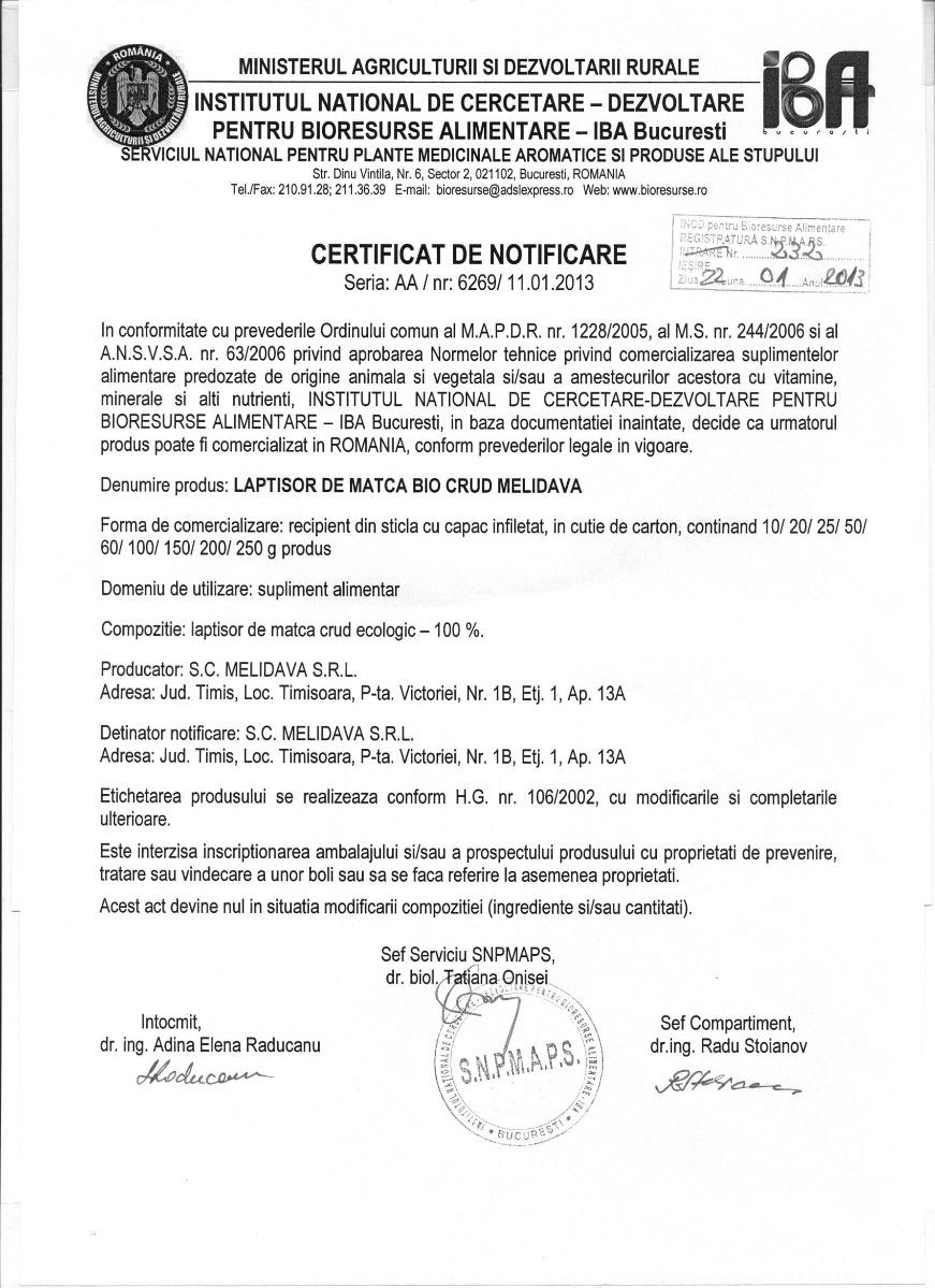 Certificat laptisor de matca BIO crud Melidava