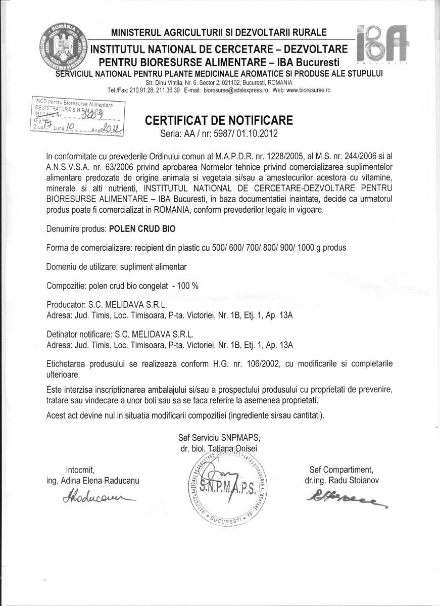 Certificat polen crud BIO