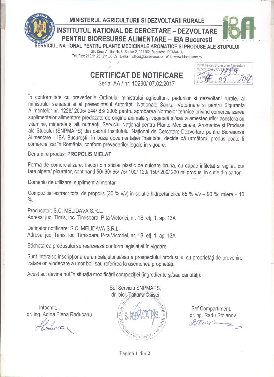 Certificat Propolis Mielat