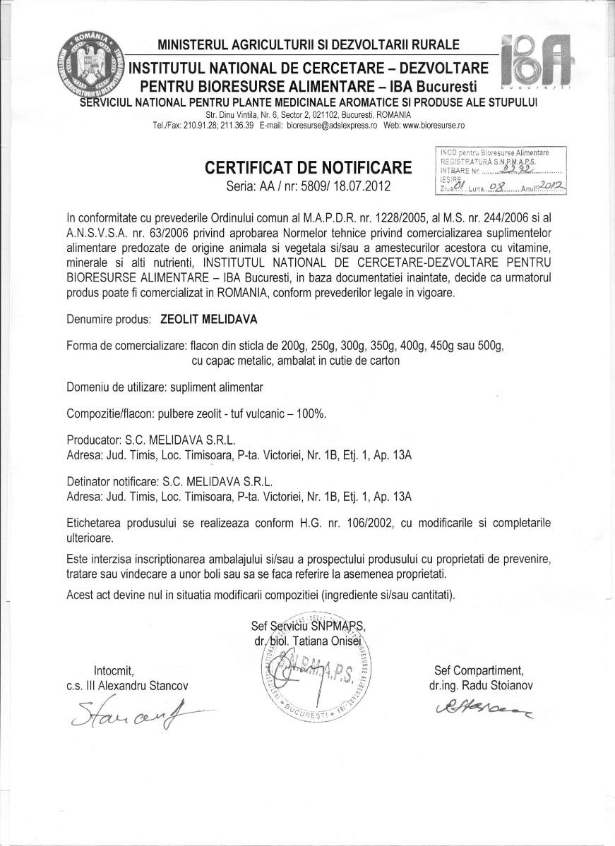 Certificat Zeolit Melidava