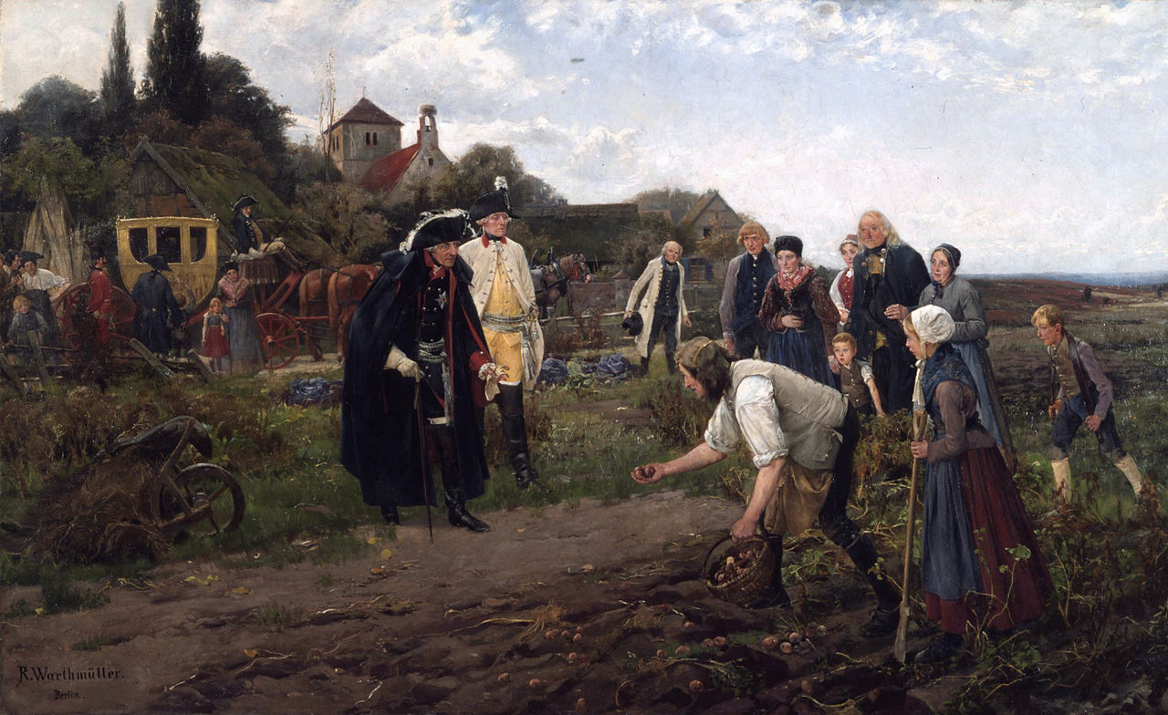 King Frederick the Great of Prussia, a potato proponent, inspects an early harvest. (Robert Warthmüller, 1886)
