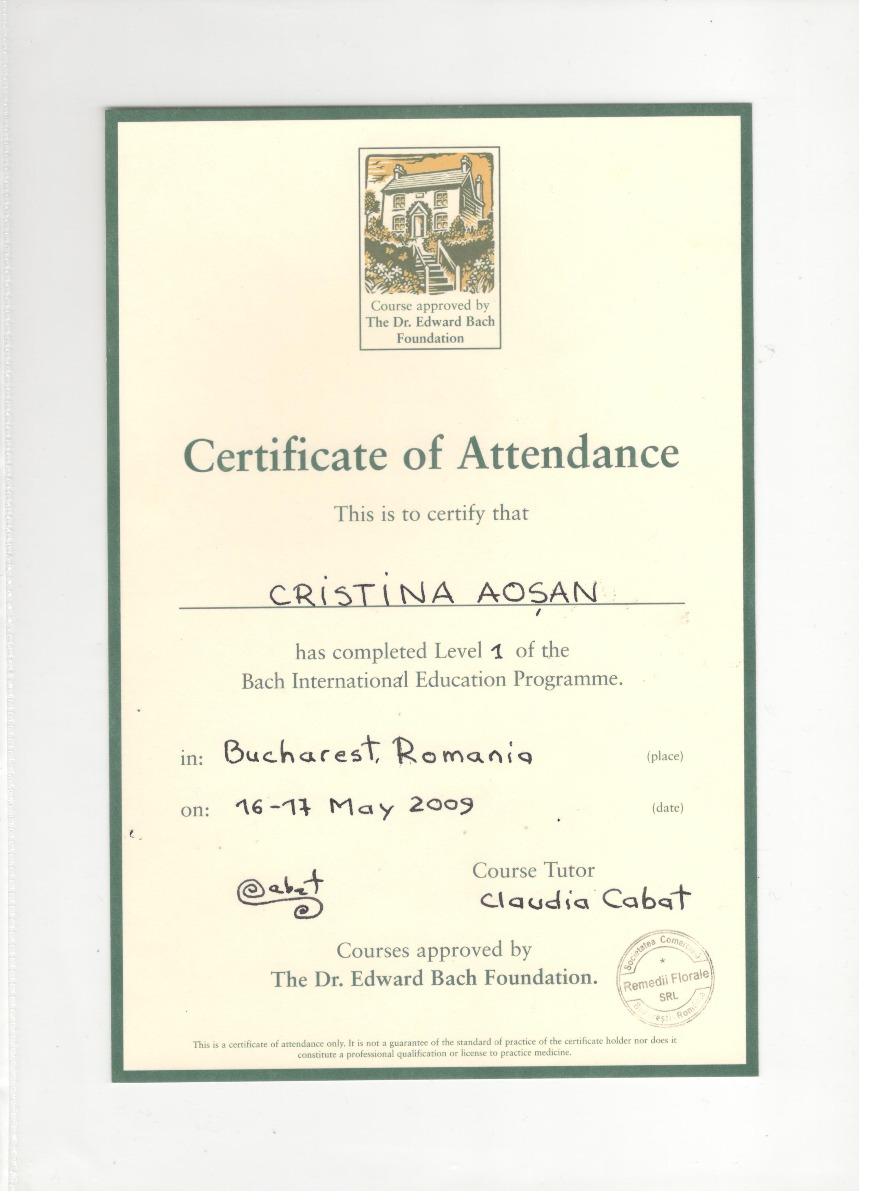 Certificat Terapie cu Remedii Bach