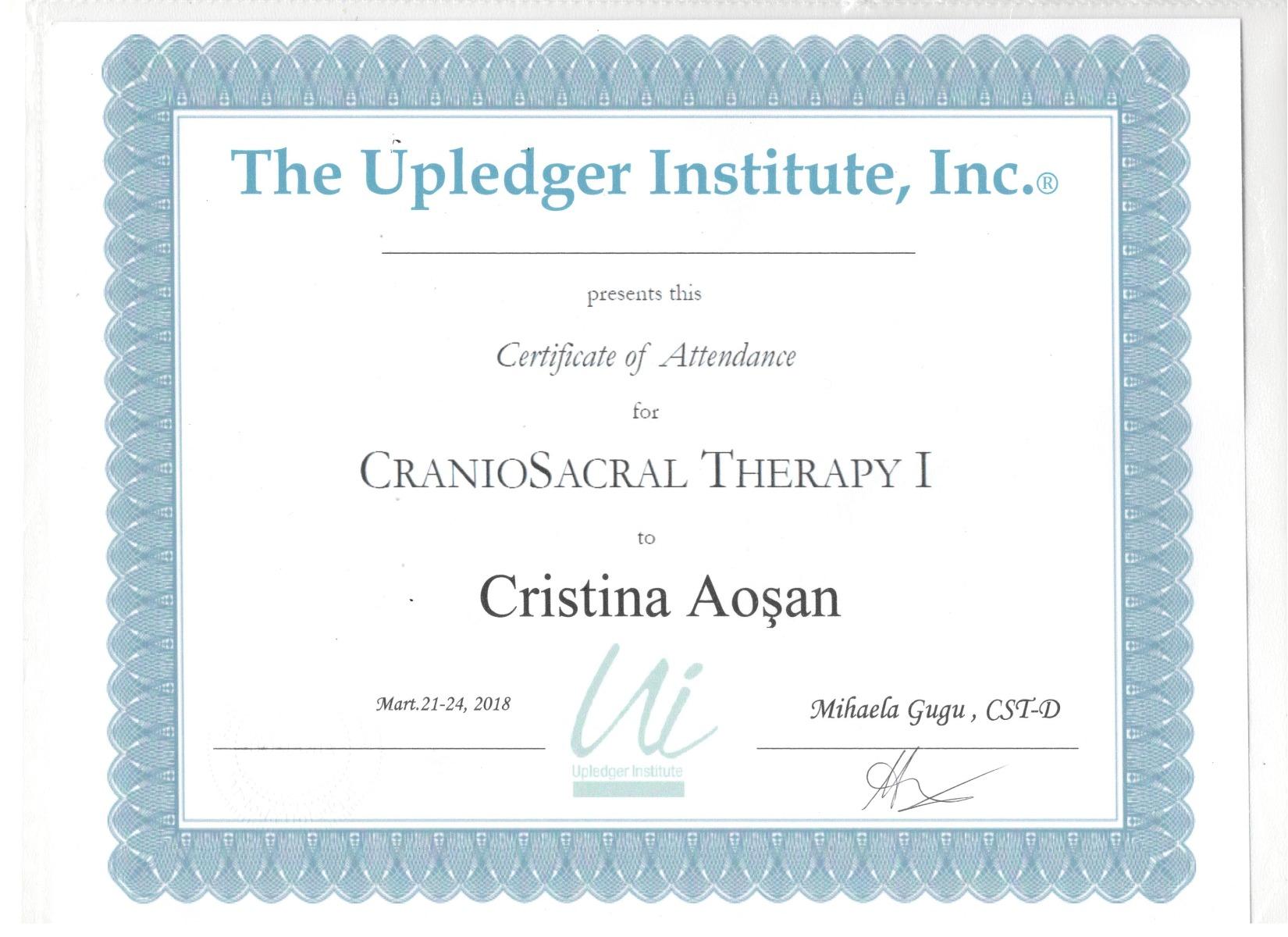 Certificat Uplegder Institute-terapie cranio sacrala