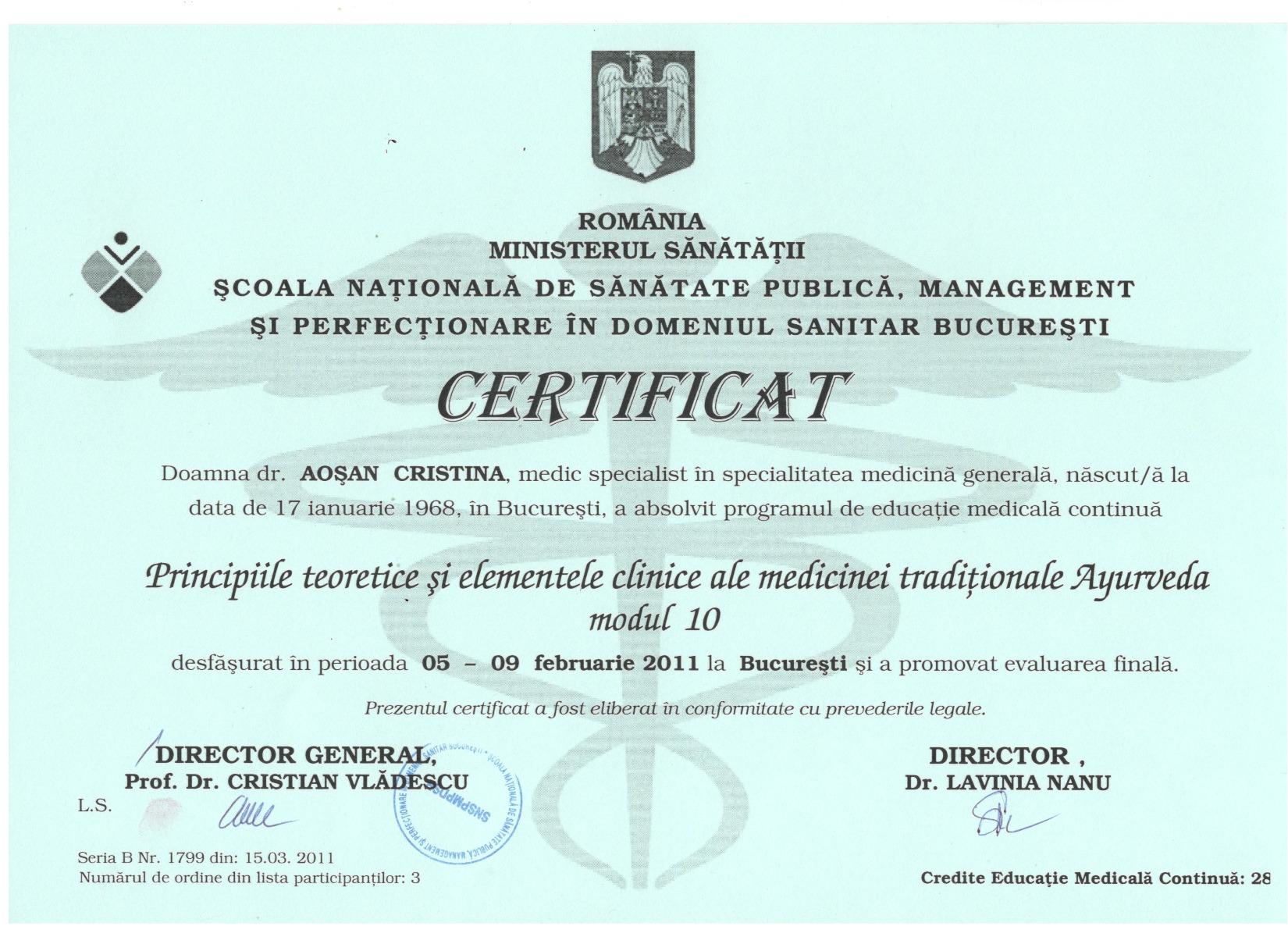 Certificat SNSP Ministerul Sanatatii, Ayurveda
