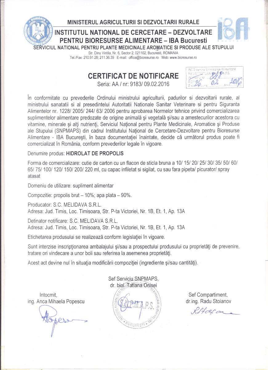 Certificat Hidrolat de Propolis