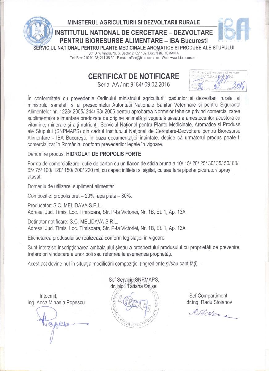 Certificat Hidrolat de Propolis Forte