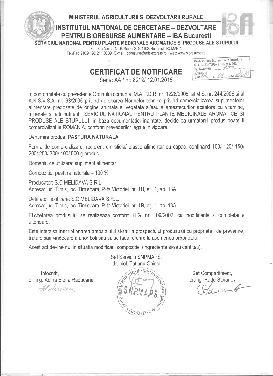 Certificat Pastura Naturala
